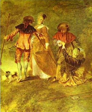 Embarkation For Cythera Or The Pilgrimage To Cythera Detail 2 1717 | Jean Antoine Watteau | oil painting