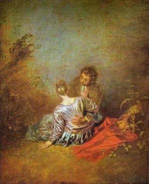 Le Faux Pas (The Mistaken Advance) 1717 | Jean Antoine Watteau | oil painting