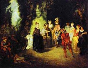 Love In The French Theather 1716 | Jean Antoine Watteau | oil painting