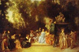 Party In The Open Air 1718-20 | Jean Antoine Watteau | oil painting