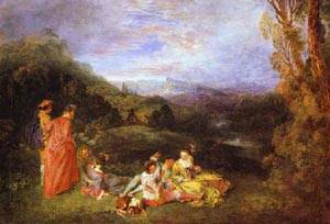 Peaceful Love 1718 | Jean Antoine Watteau | oil painting