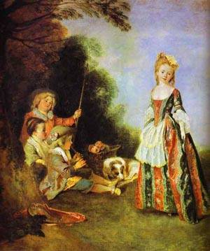 The Dance Detail 1719 | Jean Antoine Watteau | oil painting