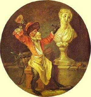 The Monkey Sculptor 1710 | Jean Antoine Watteau | oil painting