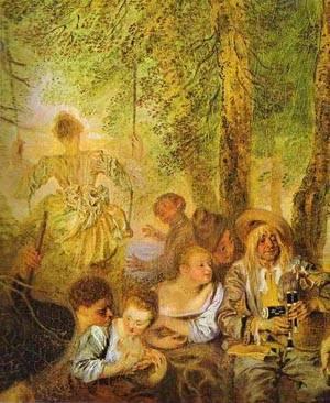 The Shepherds Detail 1 1717-19 | Jean Antoine Watteau | oil painting