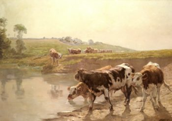 Cattle In A Pasture | Wenceslas Vacslav Brozik | oil painting
