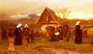 Am Allerseelentage Auf Dem Friedhofe Zu Egg Im Bregenzer Walde   Wilhelm Ludwig Friedrich Riefstahl   oil painting