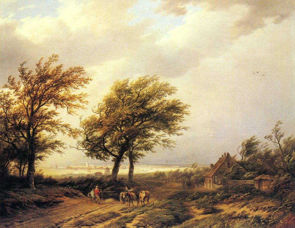 Travellers In An Extensive Landscape With A Town Beyond | Willem Bodemann | oil painting