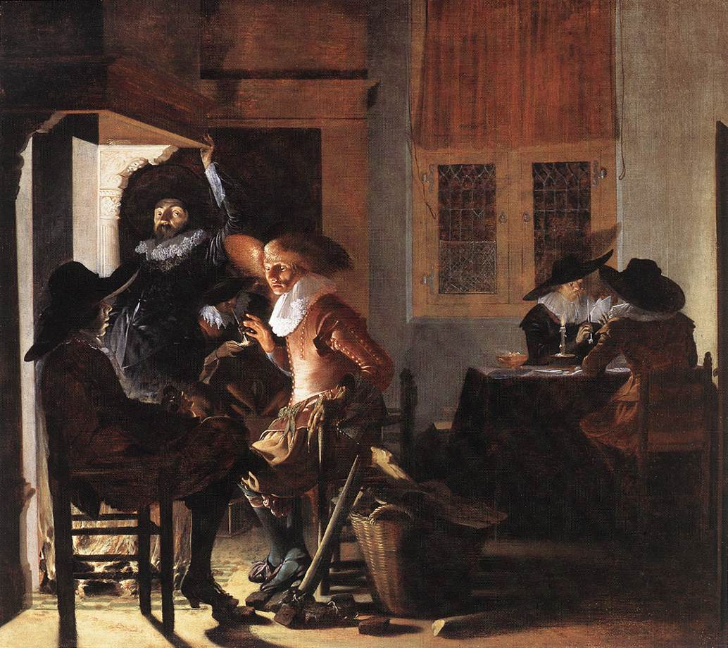 Soldiers Beside a Fireplace 1632   Willem Cornelisz Duyster   oil painting