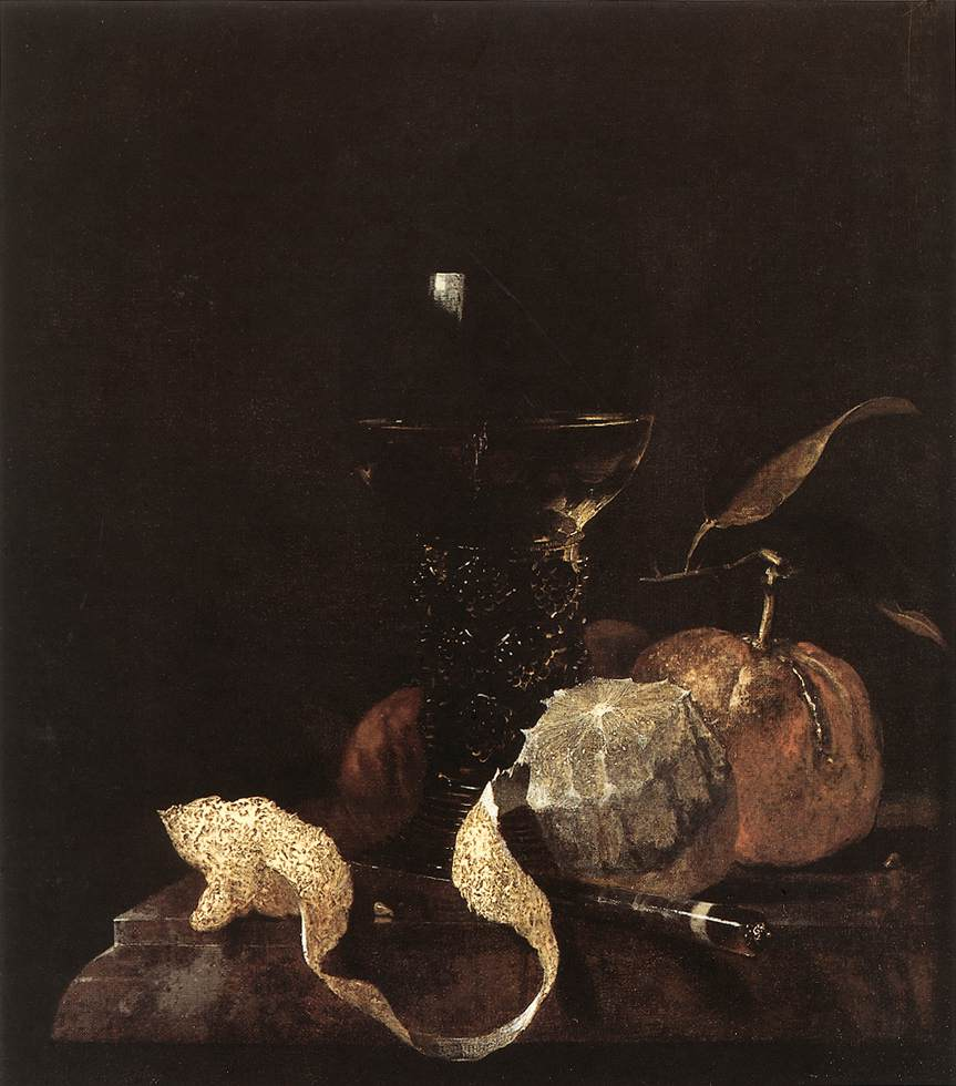 Still Life With Lemon Oranges And Glass Of Wine 1663-64 | Willem Kalf | oil painting