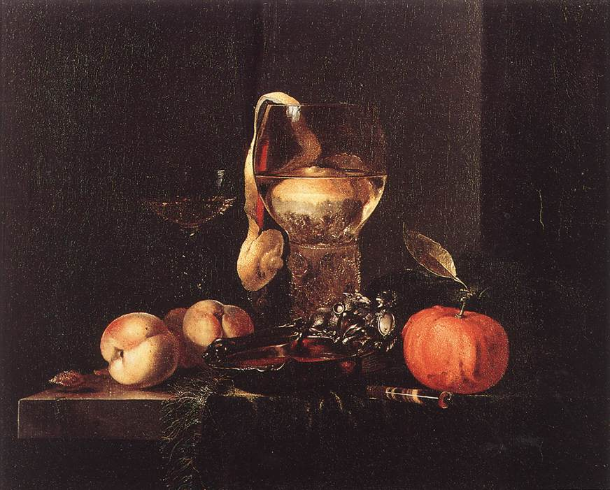 Still Life With Silver Bowl Glasses And Fruit 1658 | Willem Kalf | oil painting