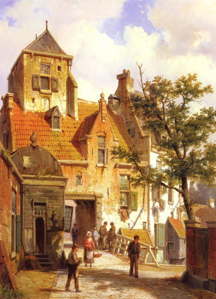 A Street Scene In Haarlem | Willem Koekkoek | oil painting