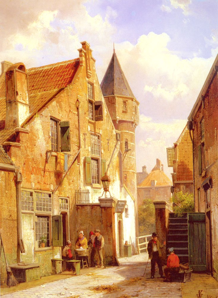 A Street Scene In Leiden | Willem Koekkoek | oil painting