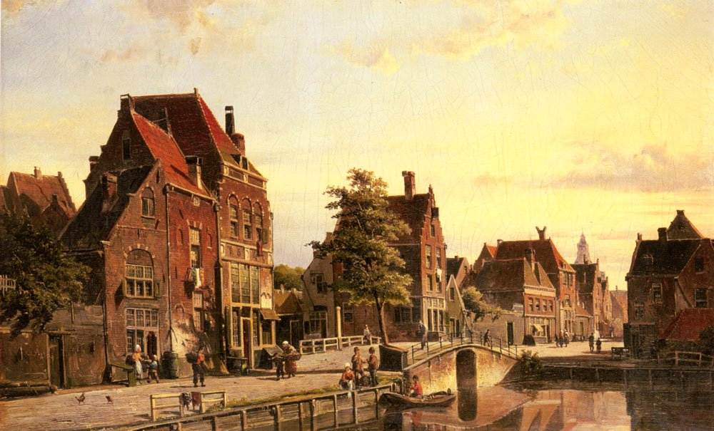 Figures By A Canal In A Dutch Town | Willem Koekkoek | oil painting