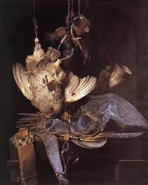 Still Life With Hunting Equipment And Dead Birds 1668 | Willem Van Aelst | oil painting