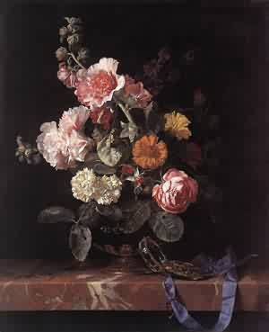 Vase Of Flowers With Watch 1656 | Willem Van Aelst | oil painting