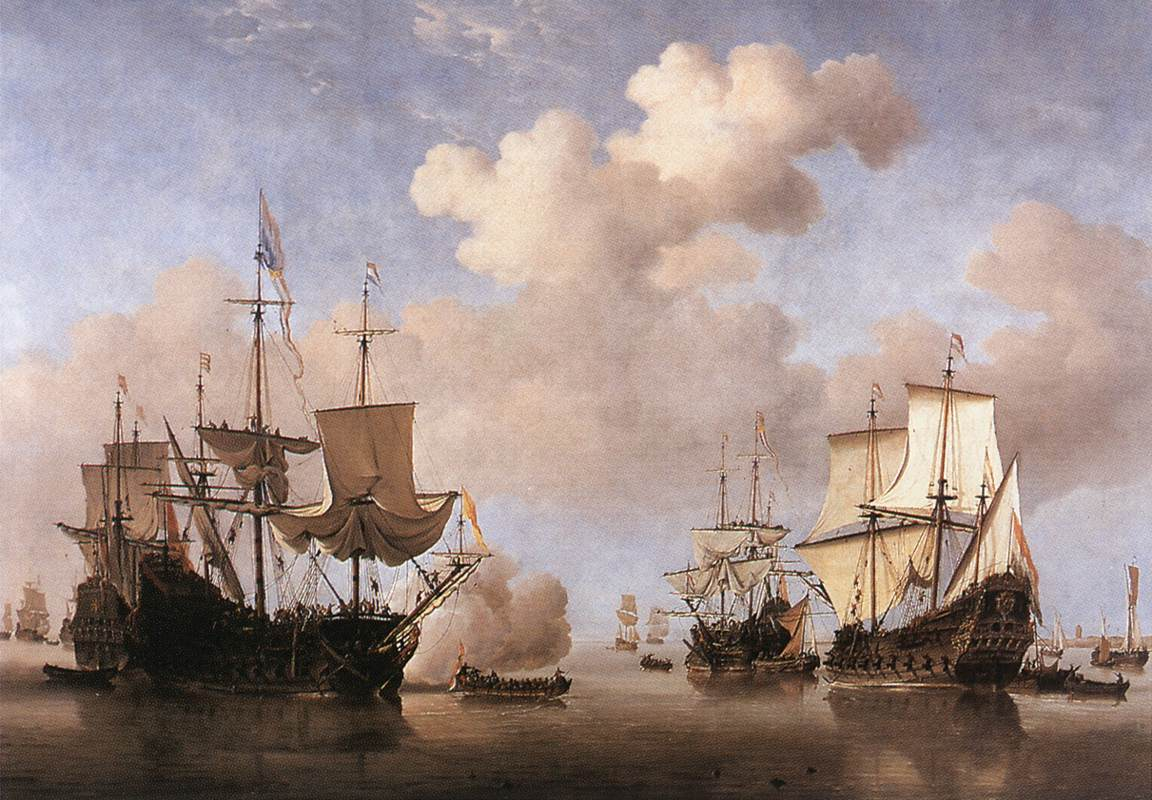 Calm Dutch Ships Coming To Anchor 1665-70 | Willem Van De The Younger Velde | oil painting