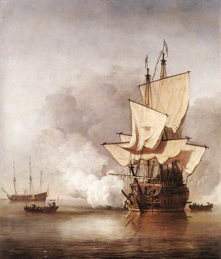 The Cannon Shot 1670 | Willem Van De The Younger Velde | oil painting