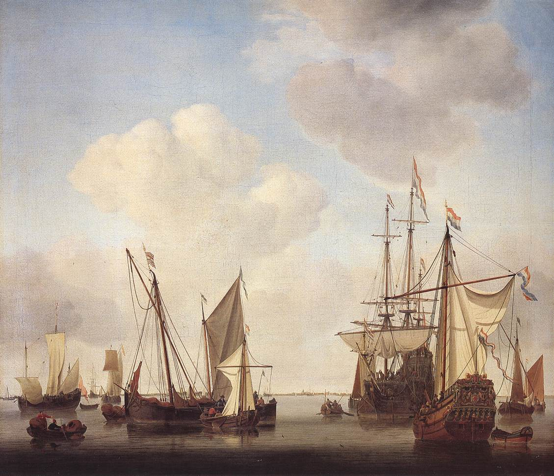Warships At Amsterdam | Willem Van De The Younger Velde | oil painting