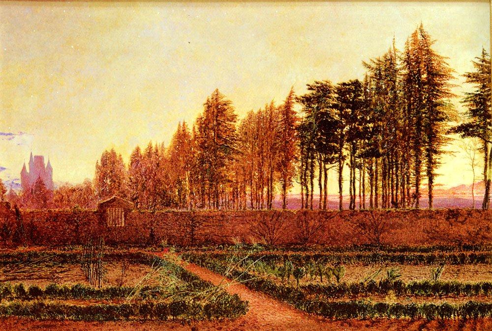 The Gloaming a Manse Garden in Berwickshi   William Bell Scott   oil painting
