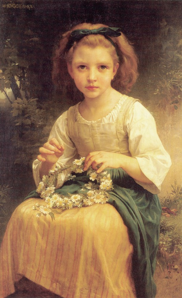 Enfant Tressant Une Couronne | William Bouguereau | oil painting