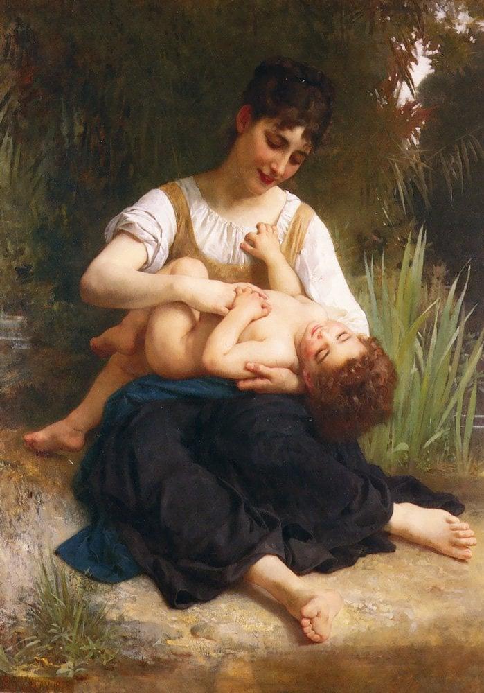 Jeune Fille Et Enfant (Girl and Child) | William Bouguereau | oil painting