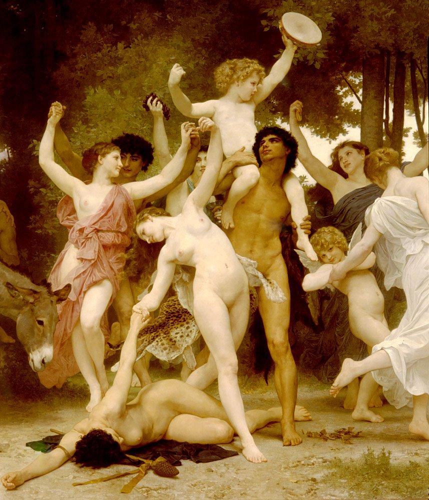 La Jeunesse De Bacchus Centre Detail | William Bouguereau | oil painting