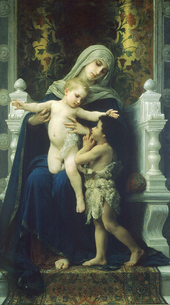 La Vierge Lenfant Jesus Et Saint Jean Baptiste2 | William Bouguereau | oil painting