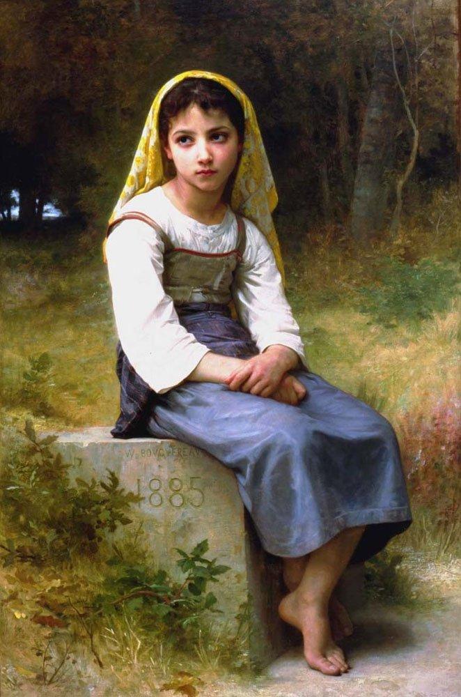 Meditation 1885   William Bouguereau   oil painting