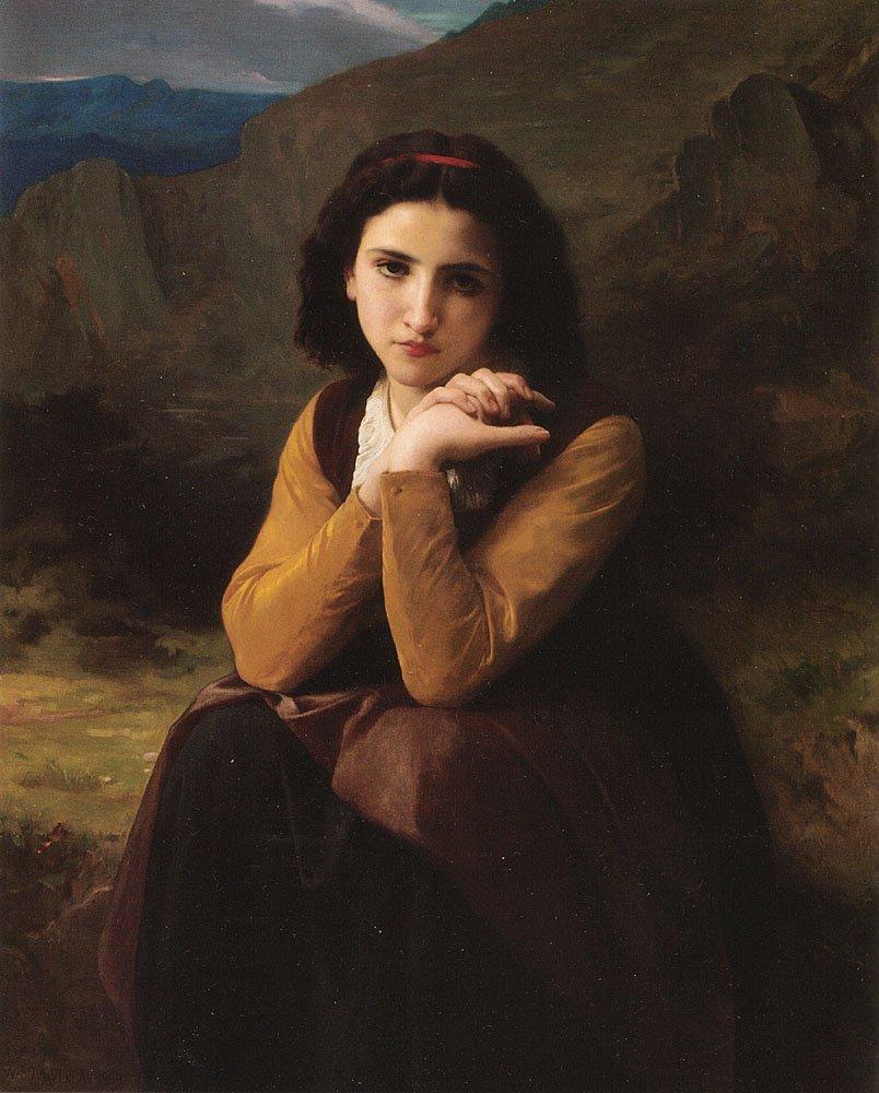 Mignon Pensive   William Bouguereau   oil painting