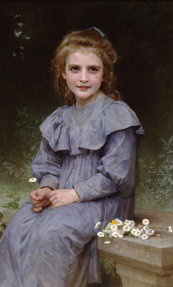 Paquerettes   William Bouguereau   oil painting