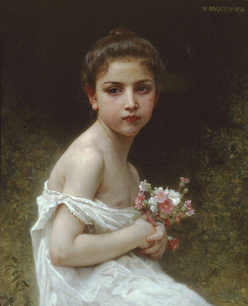 Petite Fille Au Bouquet   William Bouguereau   oil painting