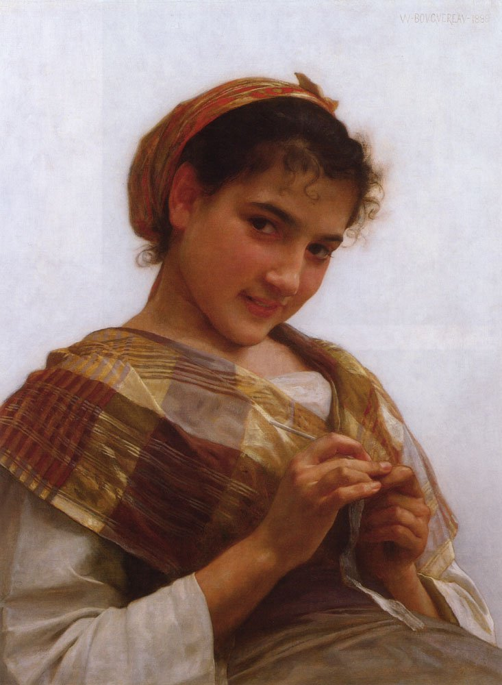 Portrait Of A Young Girl Crocheting | William Bouguereau | oil painting