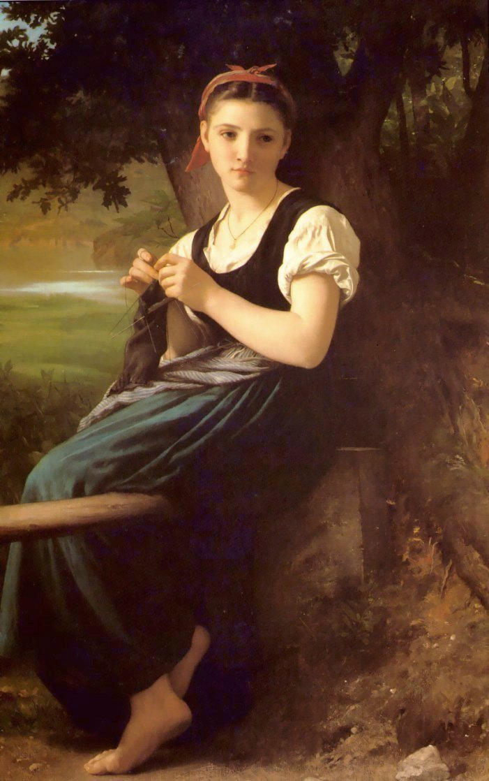 The Knitting Girl | William Bouguereau | oil painting