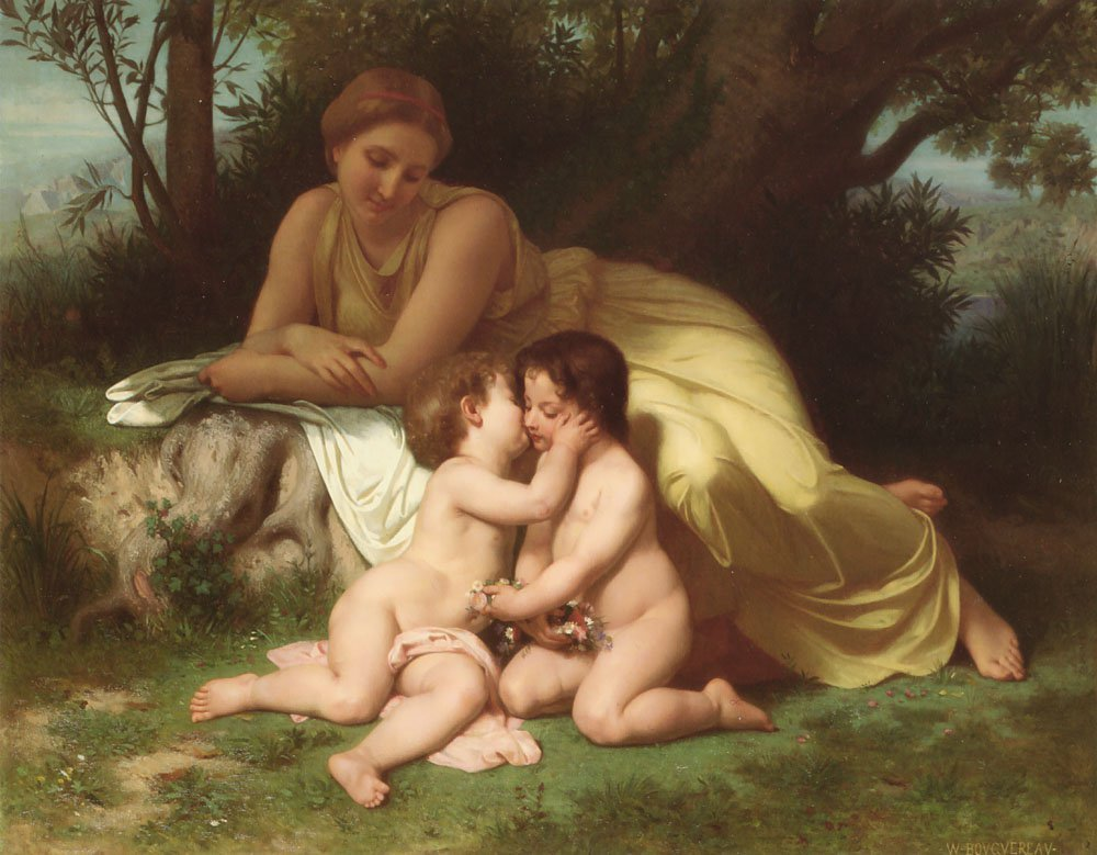 Young Woman Contemplating Two Embracing Children | William Bouguereau | oil painting