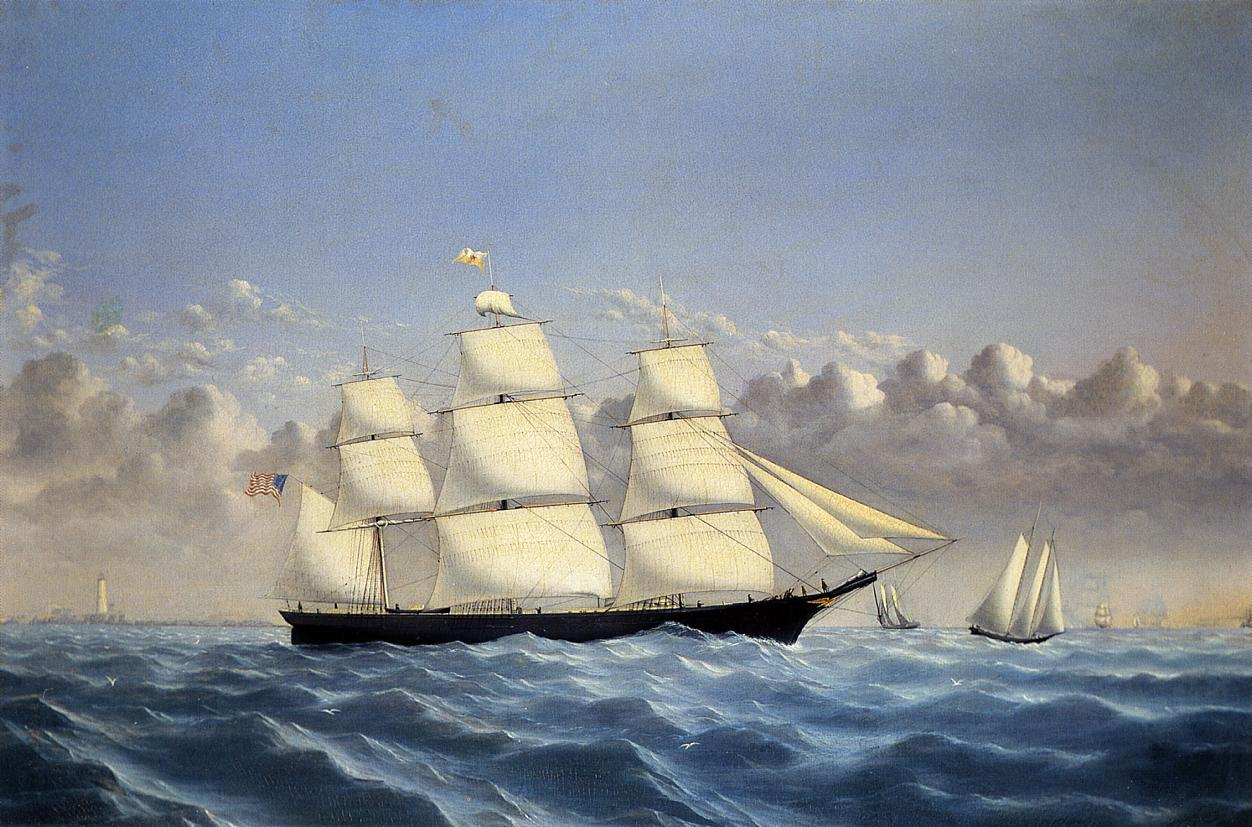 Clipper Ship Golden West of Boston Outward Bound  1853 | William Bradford | oil painting
