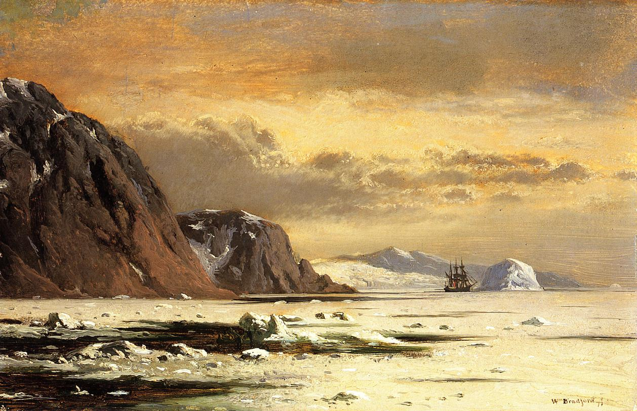 Seascape with Icebergs  1877 | William Bradford | oil painting