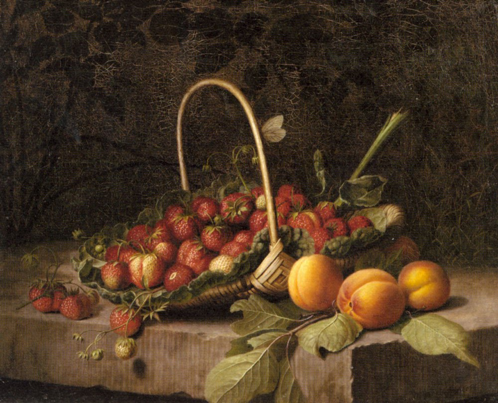 A Basket Of Strawberries And Peaches On A Stone Ledge | William Hammer | oil painting