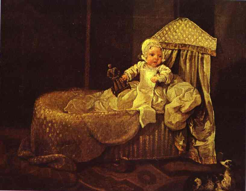 Gerard Anne Edwards In His Cradle 1733 | William Hogarth | oil painting