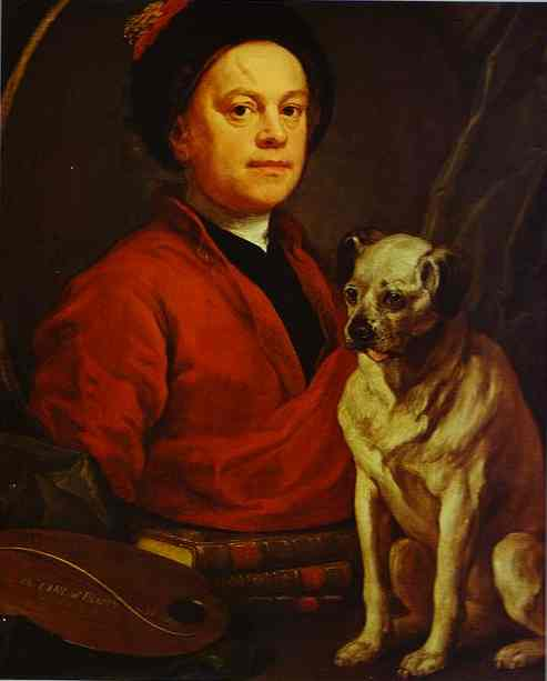 Self Portrait With Pug Dog 1745 | William Hogarth | oil painting