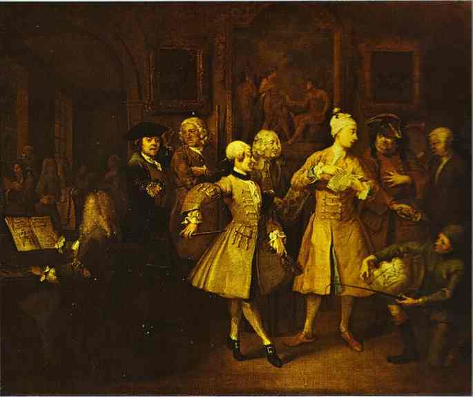 Surrounded By Artists And Professors (A Rakes Progress) 1732 | William Hogarth | oil painting
