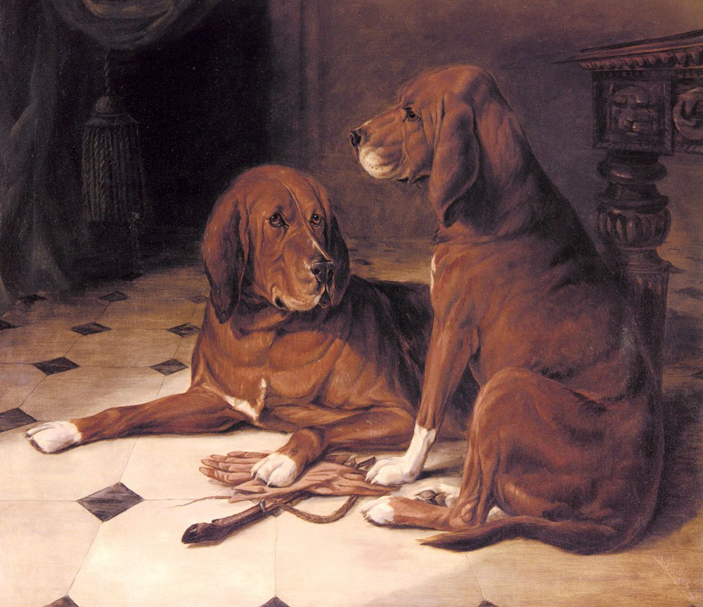 Two Hounds In A Great Hall | William Luker | oil painting