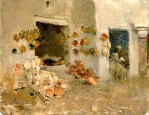 Pottery Shop at Tunis 1887   William Metcalfe   oil painting