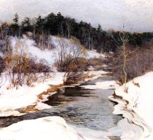 The Frozen Pool March 1909   William Metcalfe   oil painting