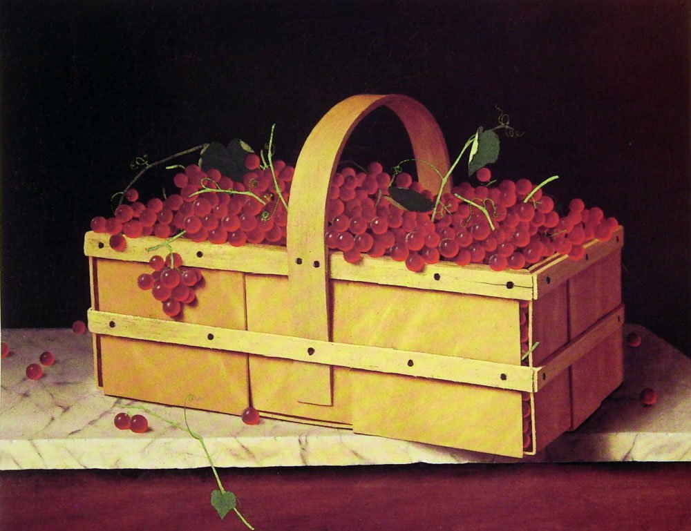 A Wooden Basket of Catawba-Grapes | William M Harnett | oil painting