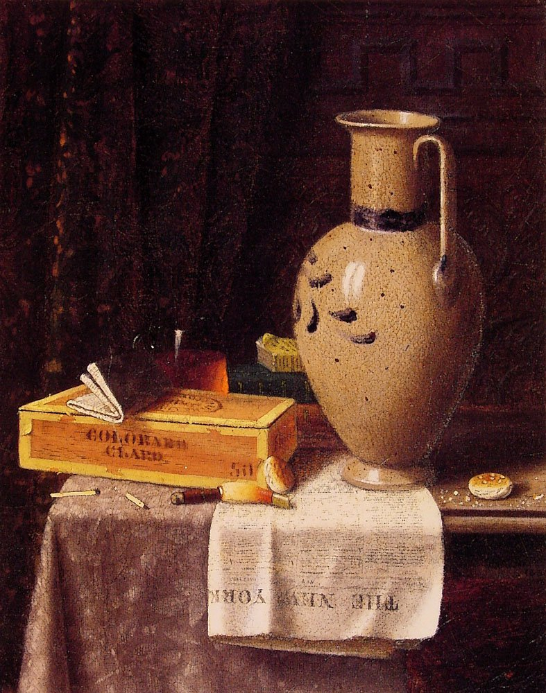 Cigar Box Pitcher and New York Herald | William M Harnett | oil painting