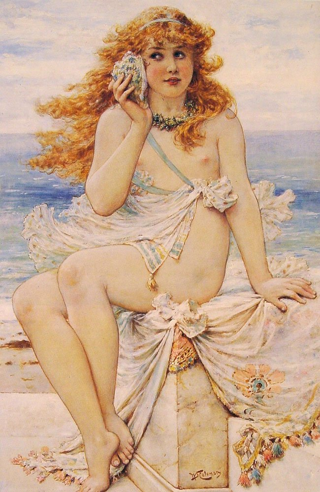 Nymph with Conch Shell | William Stephen Coleman | oil painting