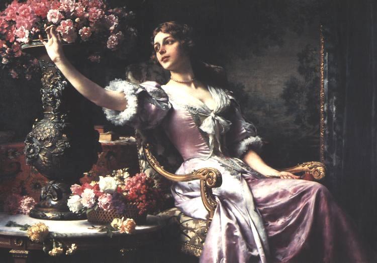 Lady In A Purple Dress With Flowers | Wladyslaw Czachorski | oil painting