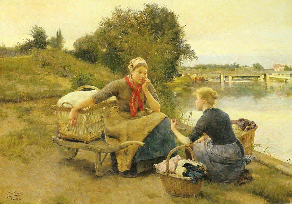 Washerwomen On A River Bank | y Aranda Luis Jimenez | oil painting