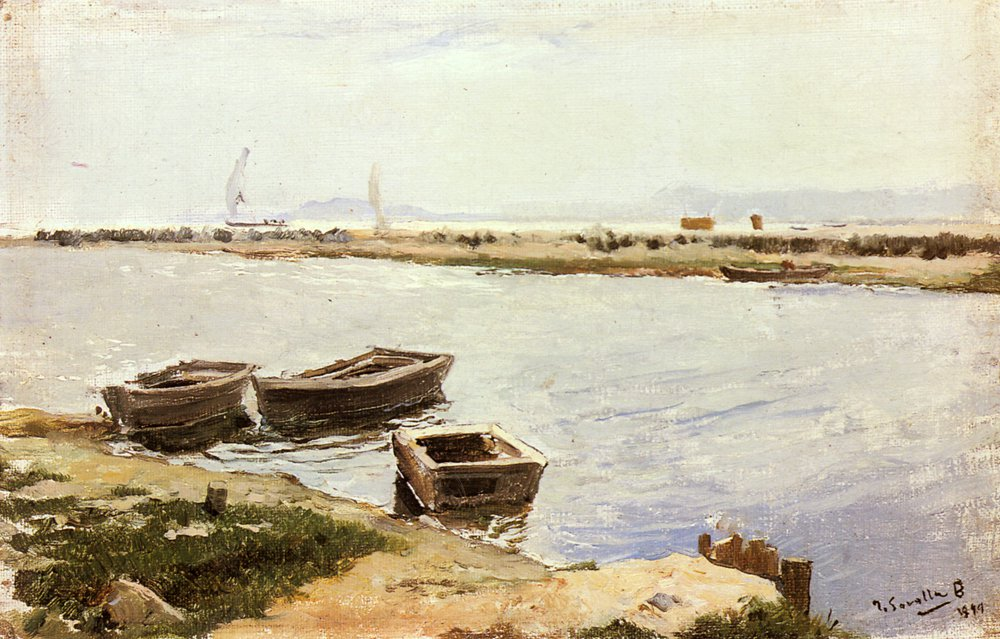 Three Boats By A Shore | Joaquin Y Bastida Sorolla | oil painting