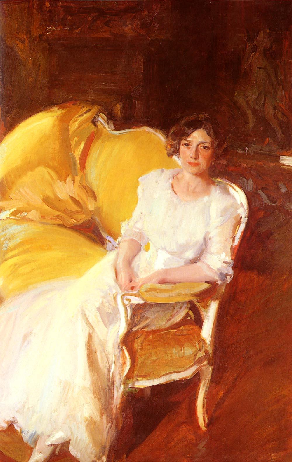 Clotilde Sentada En El Sofa | Joaquin Y Bastida Sorolla | oil painting